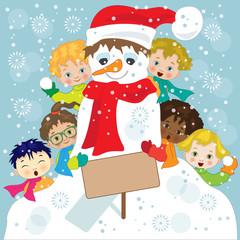 Bambini che Giocano nella Neve  - Children with Snowman