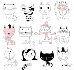 Set of 12 Vector doodle cute cats avatars