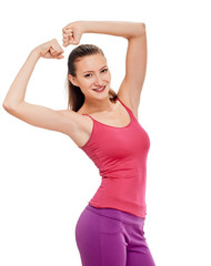 woman fitness portrait. showing biceps