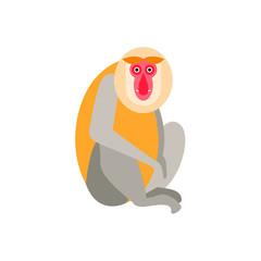 Cute monkey icon, logo, symbol. Vector illustration