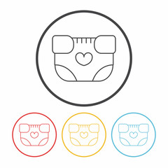 baby diaper line icon