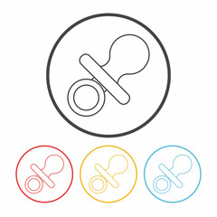 Baby pacifiers line icon