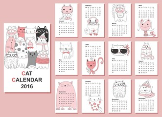 Calendar 2016. Cute cats for every month. Vector. Isolated.