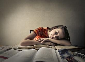 Fallen asleep on books