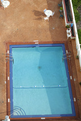 View of a swimming pool from above