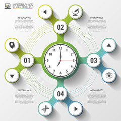 Infographics. Business Clock. Modern design template. Vector illustration
