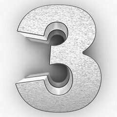 3D Silver number 3 on white background