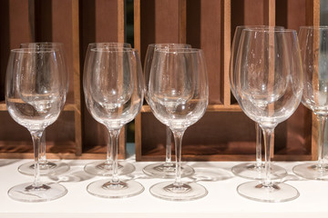 Empty wine glasses in a banquet