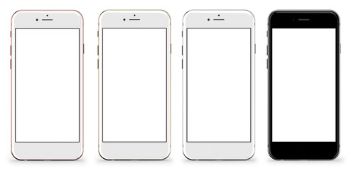Set of four smartphones gold, rose, silver and black - blank screen and isolated on white background, high resolution, deitailed render.