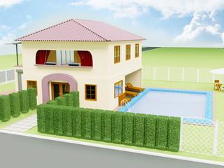 big house in the yard near the pool,