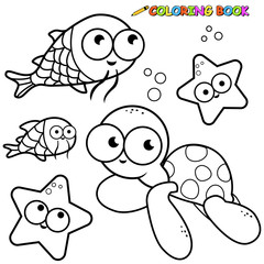 Illustration set of black and white outline images of sea animals