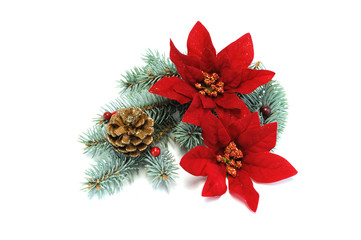 poinsettia and pine cone for Christmas decoration