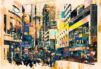 abstract art of cityscape,illustration painting