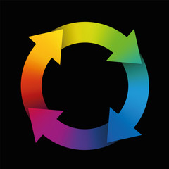 Spinning arrows forming a colorful rainbow circle. Illustration on black background.
