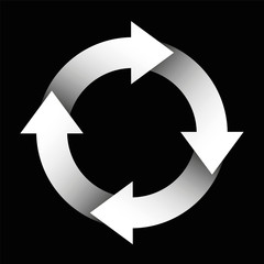 Spinning arrows forming a white circle. Illustration over black background.
