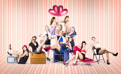 Group of 10 beautiful pinup girls in retro fashion