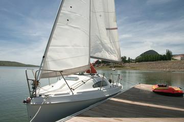 Boarding pontoons of Alange Reservoir, Spain