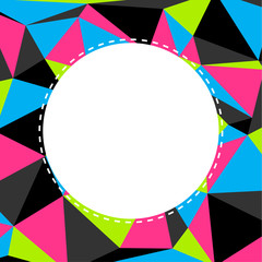 Triangular background in neon colors with copyspace in center
