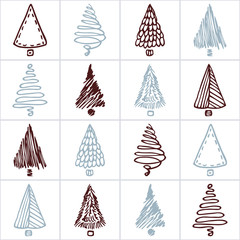 Seamless pattern with hand drawn christmas tree. Doodle holiday patchwork background