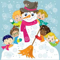 Bambini con Pupazzo di Neve