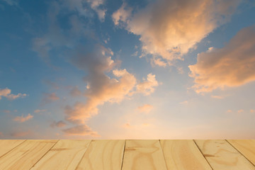 Empty of wooden table and view of sunset or sunrise background. For product display