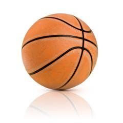 Isolated old basketball on white background
