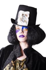 Woman in joker costume