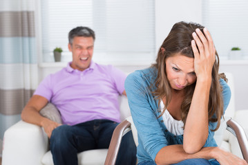 Mature Man Shouting To The Woman