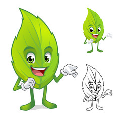 Leaf Mascot with Present Hand Cartoon Character Include with Flat Design and Outlined Version Vector Illustration