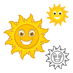 Sun Cartoon Character Include with Flat Design and Outlined Version Vector Illustration