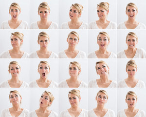 Collage Of Woman With Various Expressions
