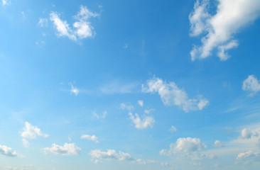 light cumulus clouds in the blue sky