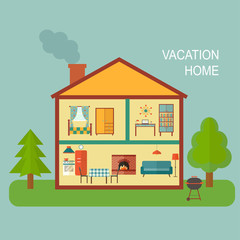 flat vacation home. Two-story cottage. vector illustration