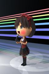 ステージに立つ女性アイドル歌手