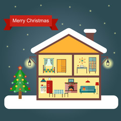 Interior of the house with a fireplace, Christmas tree, gifts, decorations. Vector flat illustration