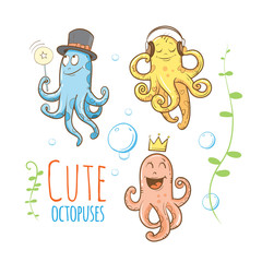 Cute cartoon octopuses set. Vector image. Underwater life.