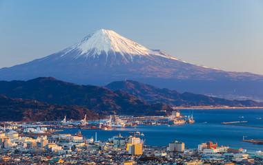 Mountain fuji and seaport at Shizuoka prefecture .. Wall mural