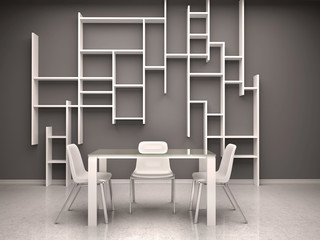 3d illustration of dark room with white chairs and shelves