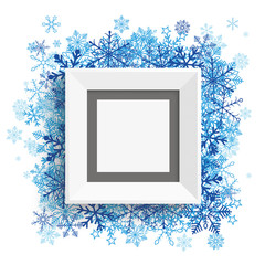 Wall Mural - Picture Frame Blue Snowflakes