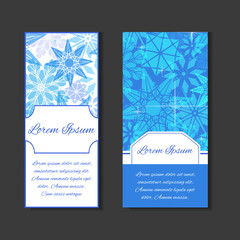 Set templates with space for text and background with snowflakes