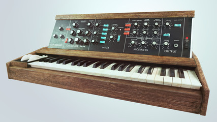 Analog classic synthesizer perspective