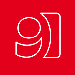 Vector number 9. Sign made with red lin