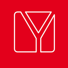 Vector initial letter Y. Sign made with red line