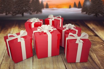 Composite image of christmas gifts