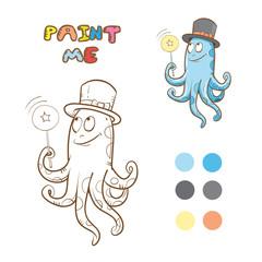 Coloring book with octopus. Vector image. Cartoon  octopus conjurer.