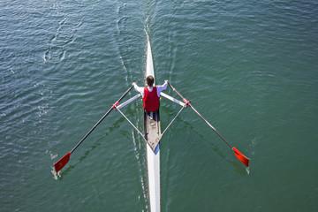Young Man paddling