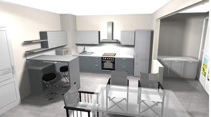3D rendering kitchen interior design with Breakfast bar