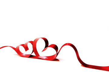 Red heart ribbon bow