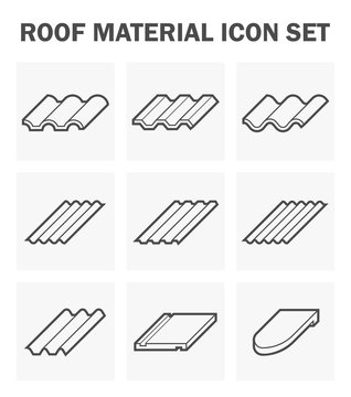 Roof tile vector icon. Consist of many shape and texture surface i.e. wave, wavy and sheet. Many material i.e. clay, metal, ceramic, terracotta, steel and shingle. For house cover and construction.