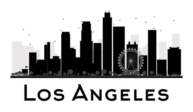 Los Angeles City skyline black and white silhouette. Some elements have transparency mode different from normal